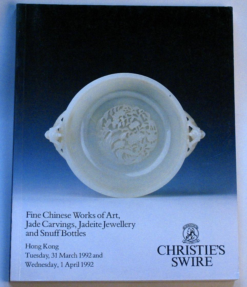 CHK19920401: Bookshop: [1992] Christies Hong Kong Fine Chinese Works of Art. Jade Carvings, Jadeite Jewellery