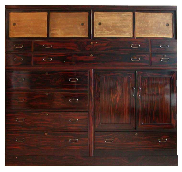 NH12143: Large Rosewood Taisho 3 piece Clothing chest