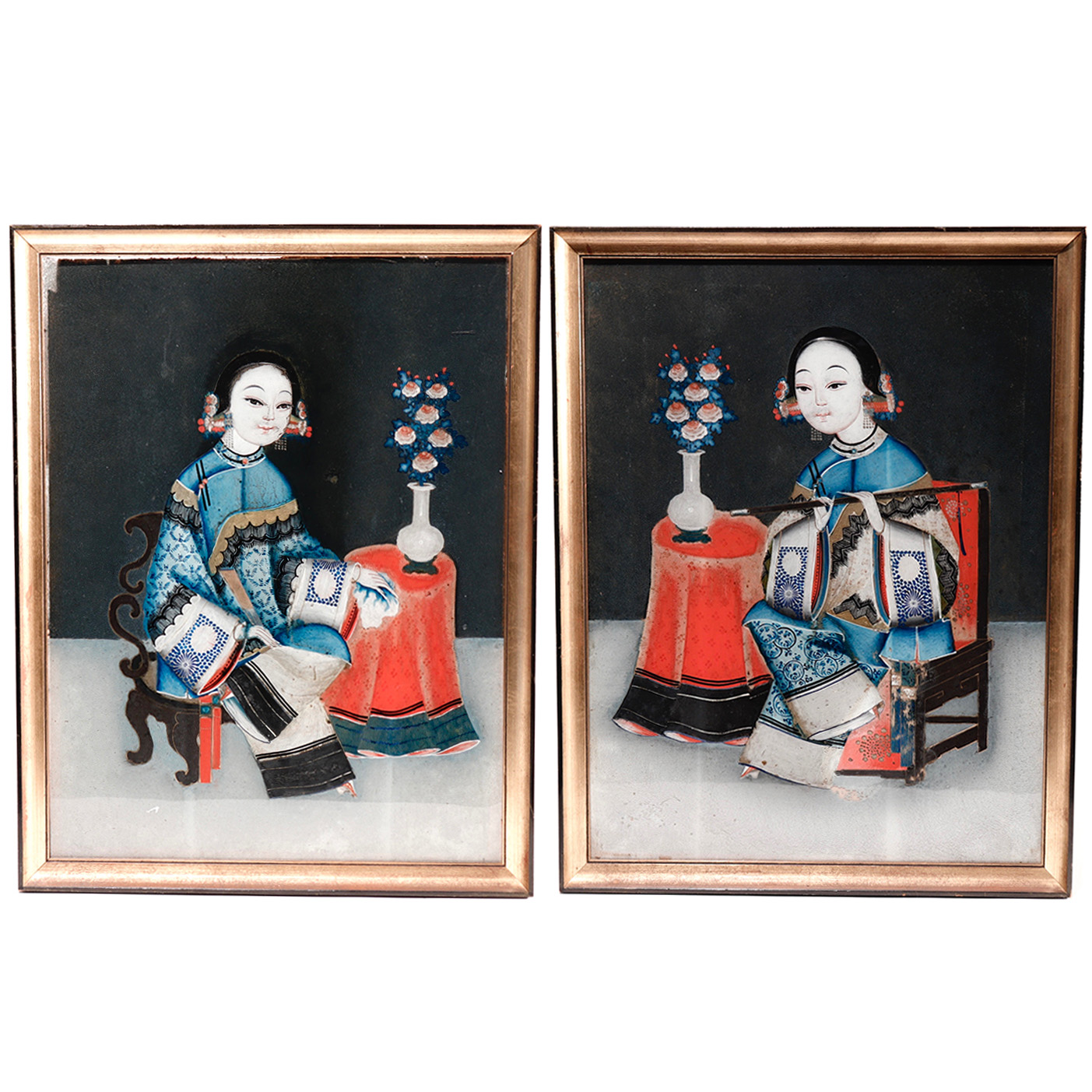 UA05052: Reverse Glass Painting Pair