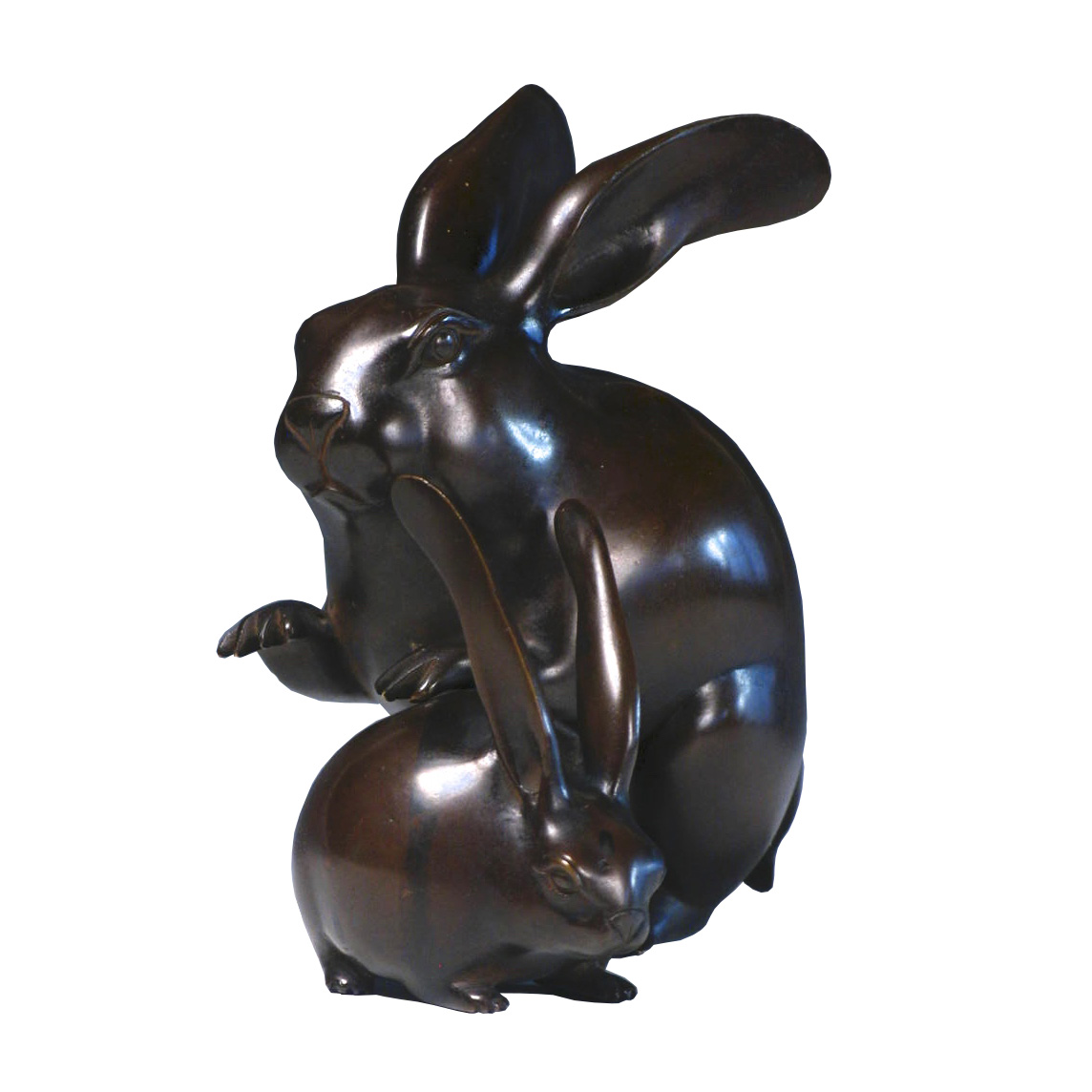 NH30100: Bronze Okimono Two Rabbits
