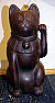Antique Japanese Clay Beckoning cat