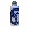 Antique chinese blue & white porcelain dragon snuff bottle