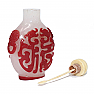 UH80020 Antique Chinese Peking Red Overlay Snowflake Glass Snuff Bottle
