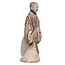Chinese Painted Grey Earthenware Standing Female Tomb Figure, Western Han Dynasty