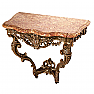 UH80178 Louis XV Painted and Parcel Gilt Oak Marble Top Console