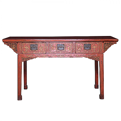 UH10022: Red Lacquered Painting Table