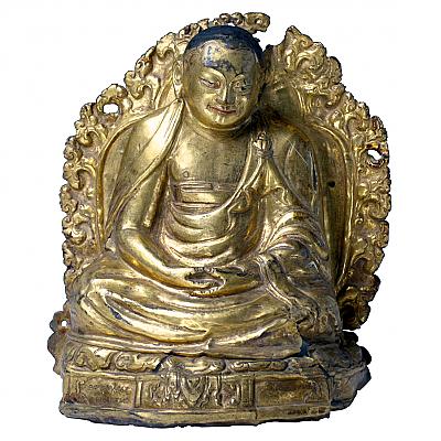 UH80028: Tibetan Gilt Copper Repousse Lama