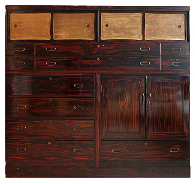 NH12143: Large Rosewood Taisho 3 piece Clothing chest