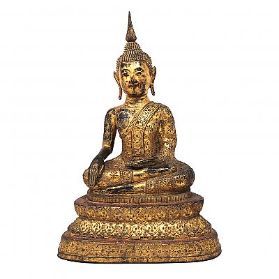 UH80090: Thai Gilt Bronze Seated Earth Touching Buddha