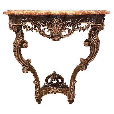 UH80178: Louis XV Painted and Parcel-Gilt Oak Marble Top Console