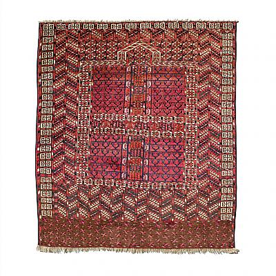 """RD0009: Turkmen Tekke """"Princess Bokhara"""" Hatchli Prayer Rug / Door Hanging (Ensi)"""