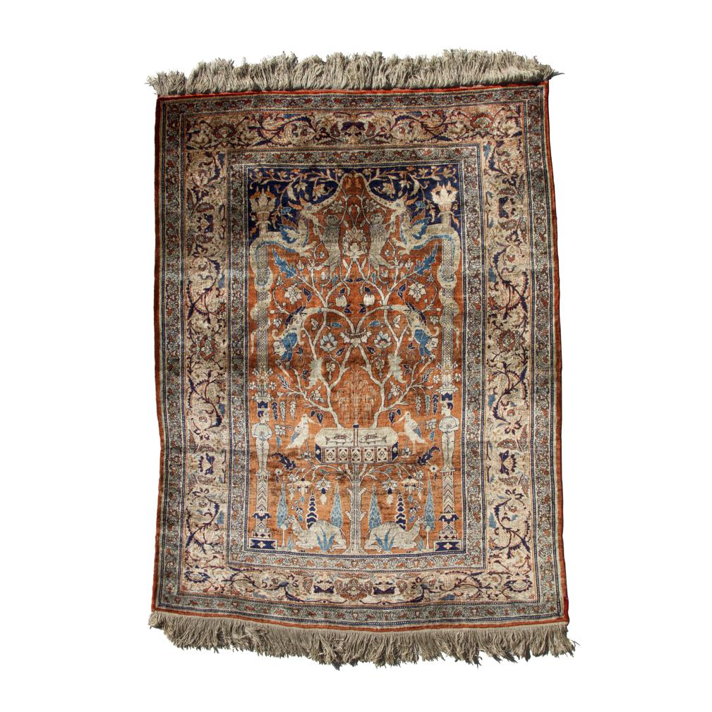 Rd0071 Antique Silk Tabriz Prayer Rug