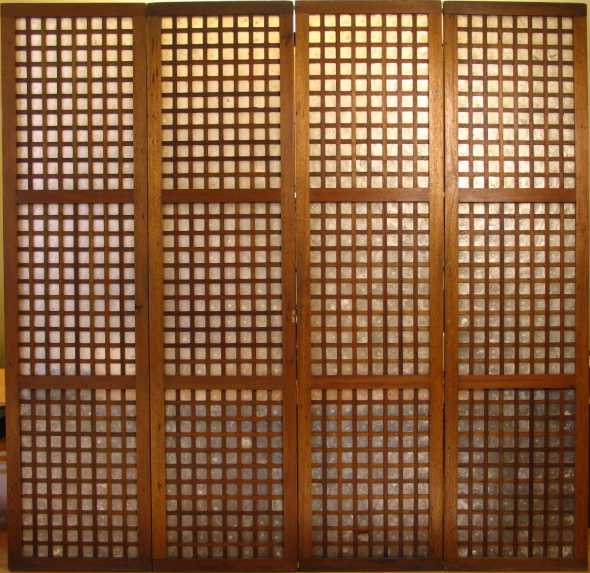 UH70007: A Vintage Set of 4 Tall Filipino Capiz Window/Door Panels