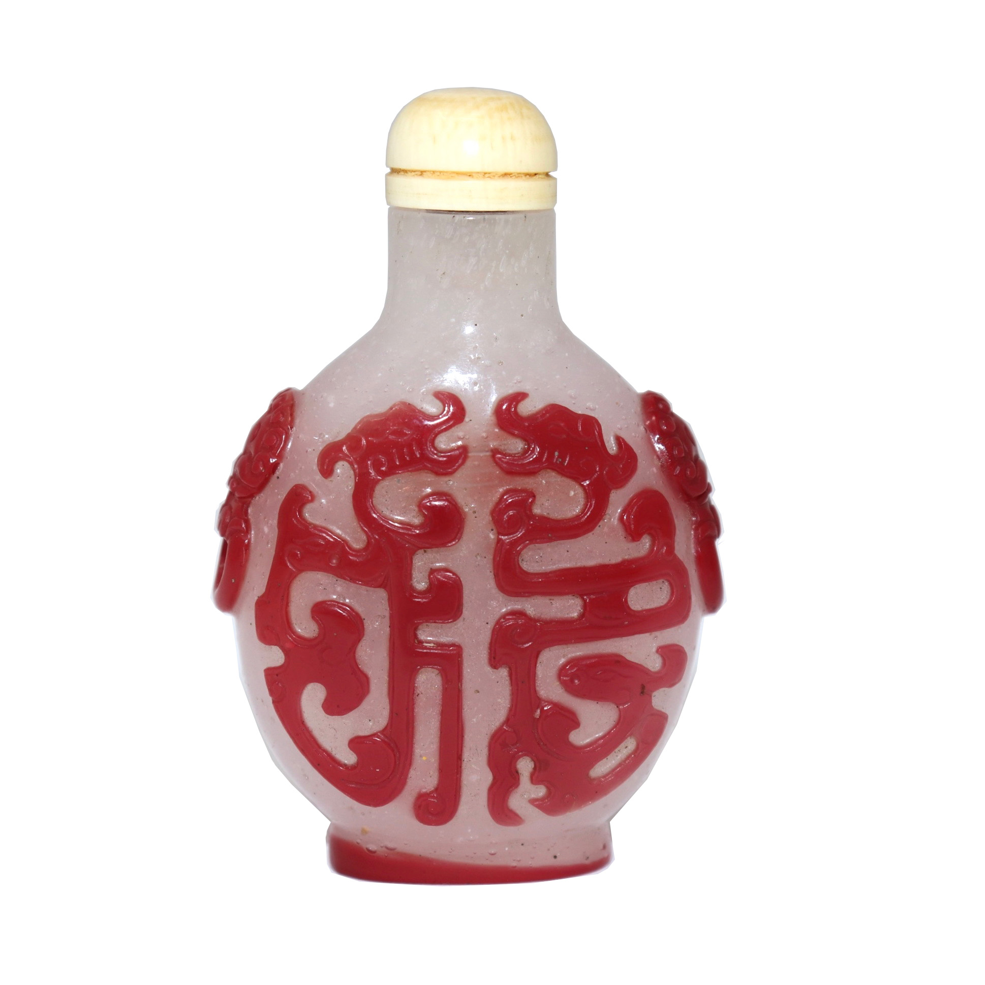 UH80020: Peking Red Over Snowflake Glass Snuff Bottle