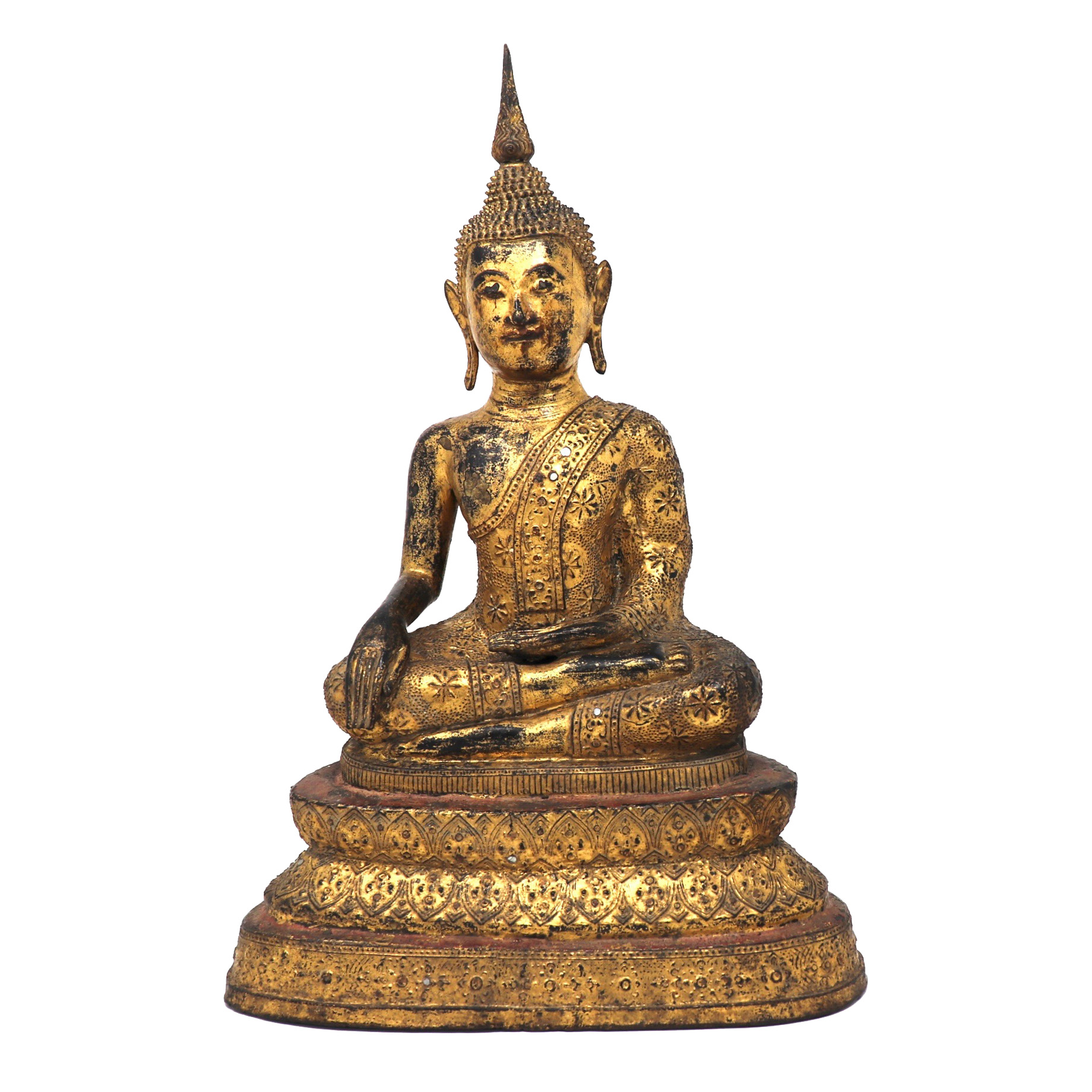UH80090: Thai Gilt Bronze Seated Earth Touching Buddha