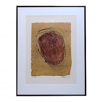 CY93302: Japanese Collagraph, Yanai Tsuguo, Broken Heart