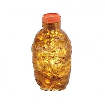 UH80107: Honey Quartz Dragon Snuff Bottle