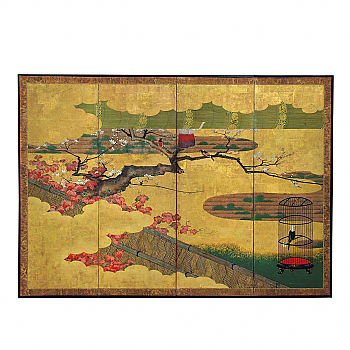UH10020: Four Panel Byobu: Intimate Garden Setting