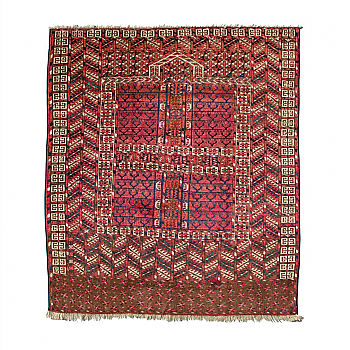 "RD0009: Turkmen Tekke ""Princess Bokhara"" Hatchli Prayer Rug / Door Hanging (Ensi)"