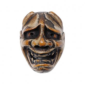 UB04087: Netsuke Wood Hannya Mask